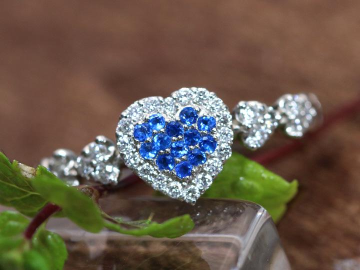 ★クーポンで20%OFF対象★アウイナイト 極上のコバルトブルー 0.09ct ダイヤモンド0.27ct PT900プラチナ リング 指輪 ハートパヴェ 受注品/Ycollectionワイコレクション/送料無料