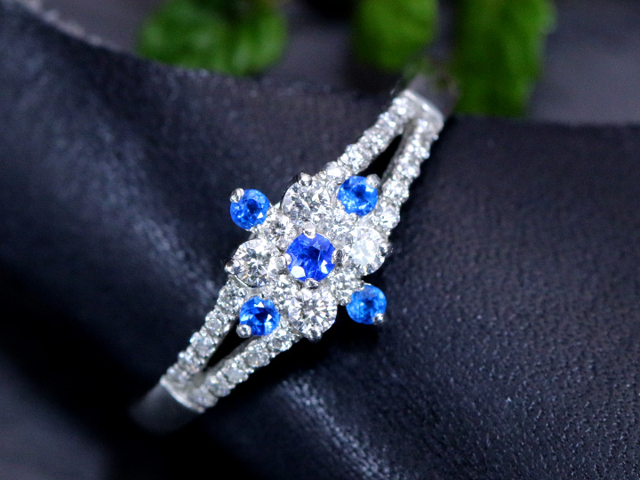 ★クーポンで20%OFF対象★アウイナイト 極上のコバルトブルー 0.075ct ダイヤモンド0.21ct PT900プラチナ リング 指輪 ダイヤの美しさが青を引き立てる 受注品 /Ycollectionワイコレクション/送料無料