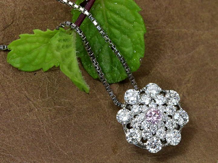 ★クーポンで40%OFF対象★ピンクダイヤモンド ダイヤモンド取り巻き PTプチネックレス FANCY LIGHT PINK 0.051ct I1 プラチナネック PT900/PT850 1点もの/Ycollectionワイコレクション/送料無料