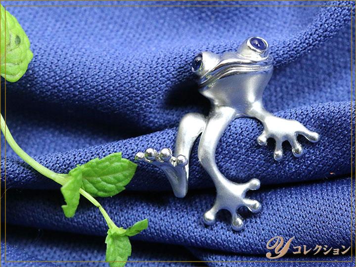 ★クーポンで20%OFF対象★蛙モチーフ 縁起物 ポケットに潜むカエルに思わず笑顔がもれる・・・SVピンタック ホワイトゴールドカラー 受注品/Ycollectionワイコレクション/送料無料