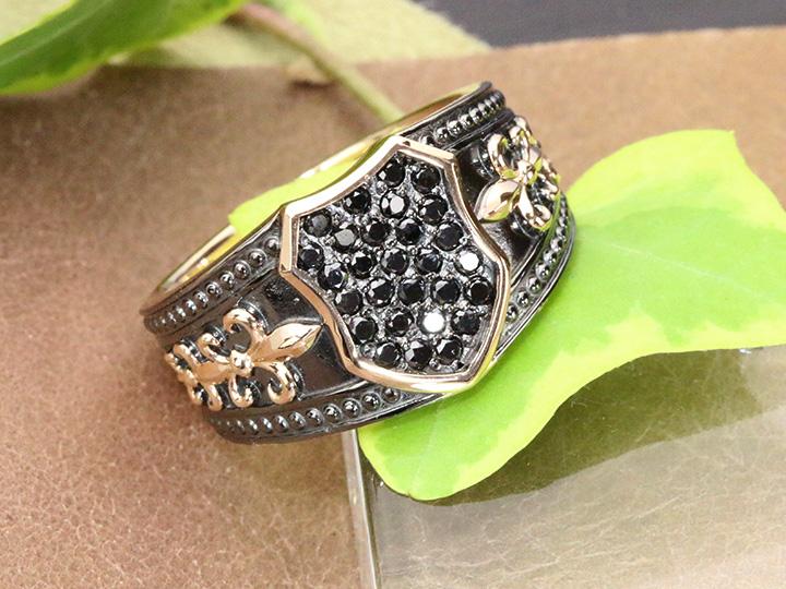 ★クーポンで20%OFF対象★メンズリング ブラックダイヤモンド0.4ct パヴェ K18PGピンクゴールド リング 指輪 12グラム超えの迫力 現状18号 サイズ直し可 受注品/Ycollectionワイコレクション/送料無料