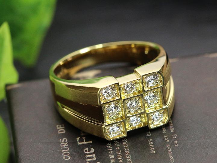 ★クーポンで40%OFF対象★メンズリング 上質ダイヤモンド0.60ct 9石のダイヤが力強く煌めく K18YGイエローゴールド リング 指輪 現状18号 サイズ直し可 1点もの/Ycollectionワイコレクション/送料無料