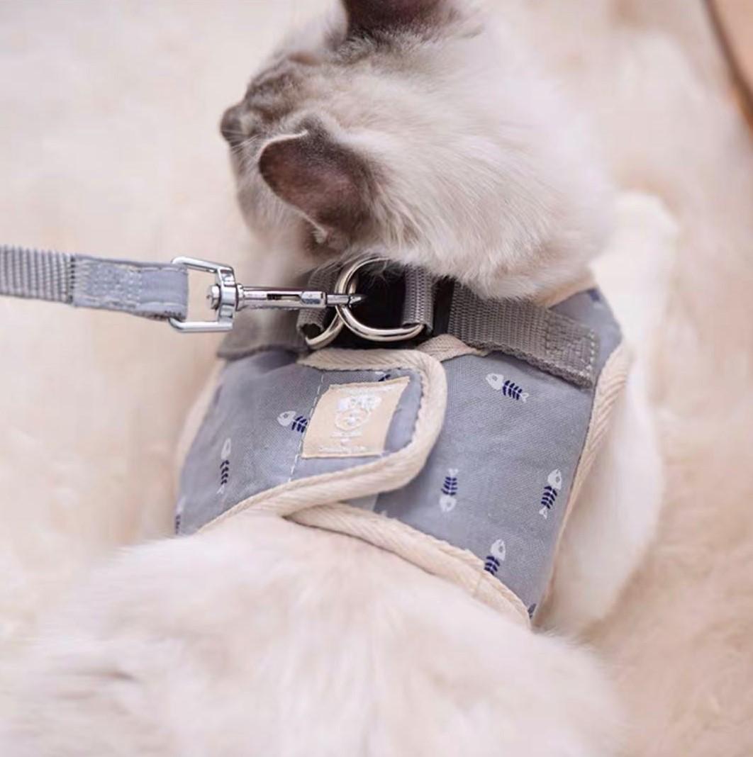 お散歩が楽しくなる 猫 メーカー公式 ハーネス リード 激安挑戦中 ダブル ロック ねこ ベスト 抜けない リード付 犬 中型犬 ハーネスリード魚骨 かわいい 小型犬 胴輪 簡単装着