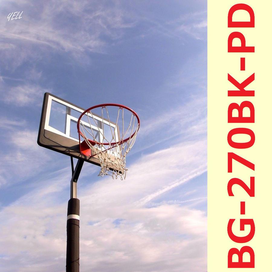 レイアップの練習もOK 透明ポリカーボネート、ポールパッド付、BG-270BK-PD オレンジリング、極太ネット バスケットゴール 屋外 家庭用 バスケットボール ゴール リング プレゼント