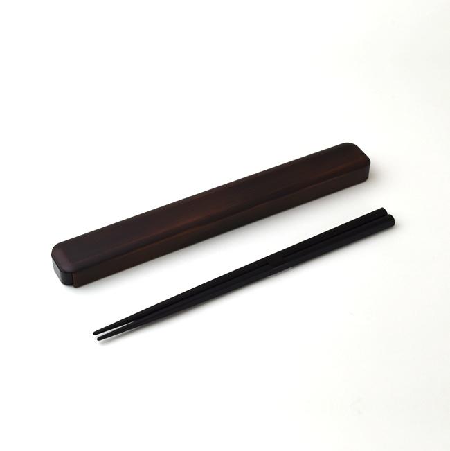和の風合いを感じる木目調のシンプル ベーシックなデザイン 箸 はし セット 箸箱 安全 木製 おしゃれ 日本製 P15 低価格化 メール便可 14422 22.5cm 箸箱セット 栃塗 4 M便 1