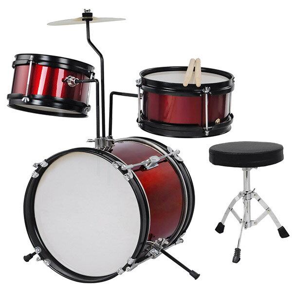 Yescom ドラムセット 子供 キッズドラムセット 子供向けドラム バスドラム スネアドラム タムタム シンバル ドラムスツール チューニングキー バスドラムペダル ドラムスティック スタンド付 レッド