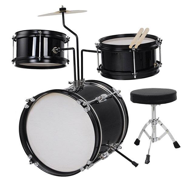 Yescom ドラムセット 子供 キッズドラムセット 子供向けドラム バスドラム スネアドラム タムタム シンバル ドラムスツール チューニングキー バスドラムペダル ドラムスティック スタンド付 ブラック