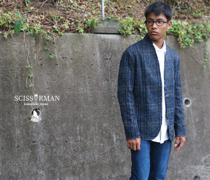 【SCISSORMAN(シザーマン)】1823 BORO 襤褸 メランジアクリルウール ジャケット ボロ【メンズ】【送料無料】【メンズ ジャケット】