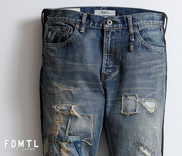 【FDMTL】fa19mt58 SLIM FIT STRAIGHT DENIM CS58 クラッシュリメイク ジーンズ 日本製【送料無料】【 FUNDAMENTAL(ファンダメンタル)】 【smtb-kd】