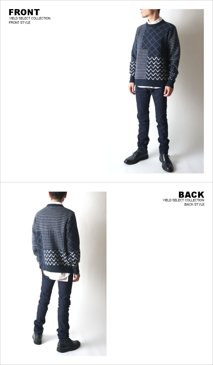 0765f23f74d017 nt11nv SASHIKO CREW NECK SWEATER NAVY undyed pattern sweater crewneck Navy  color