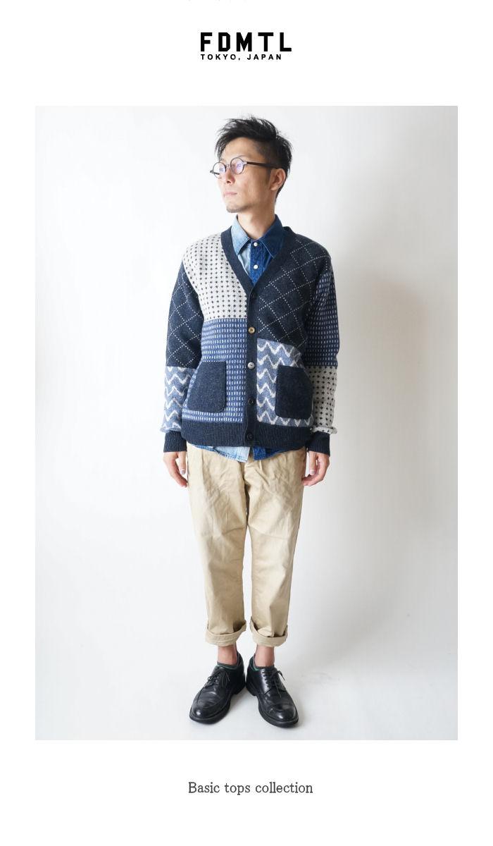71aadf6d4ea2aa nt12ml SASHIKO CREW NECK CARDIGAN undyed patterned crewneck Cardigan multi