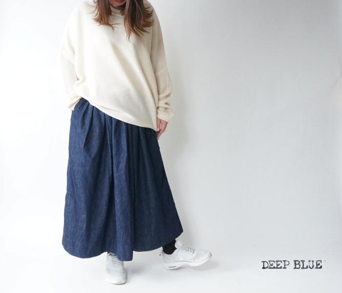 ディープブルーのナチュラルな風合いと穿きやすさを実現 DEEP BLUE ディープブルー 誕生日/お祝い 72845 デニム ギャザースカート ワンウォッシュ 岡山児島製 大人 キレイめ 低身長 デニムフレア レディース低身長 L デニムSサイズ S ふとももゆったり 日本製 定番から日本未入荷 デニムギャザースカート M