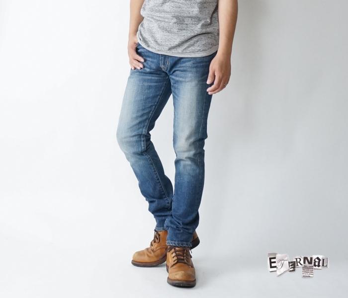 ETERNAL(エターナル) 52290k 岡山児島タイトジーンズ ストレッチタイトテーパード5ポケットジーンズ ユーズド加工 岡山児島製 送料無料 メンズデニム 日本製