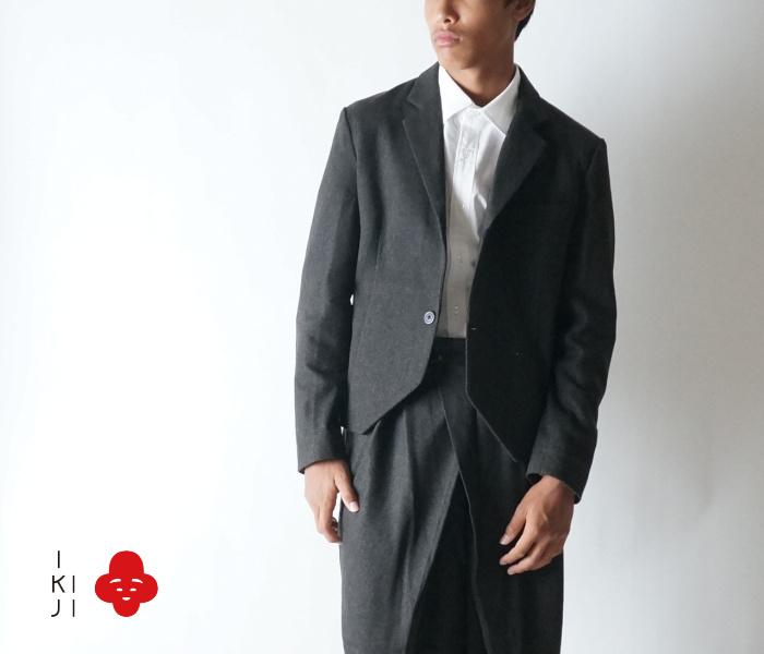 SALE 50%OFF 【IKIJI】w11754160 Short Length Jacket 一ツ釦 エターミンツイード ショート丈ジャケット 【ikiji】【イキジ】【メンズ】【長袖ジャケット】【送料無料】【smtb-kd】 ドレス セットアップにも メンズ