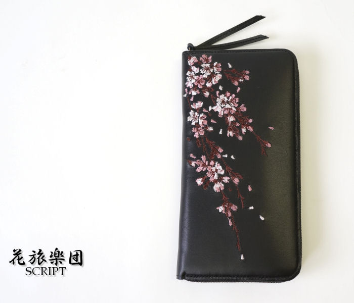 b26f241b4e swl004 cherry blossom pattern embroidery leather wallet