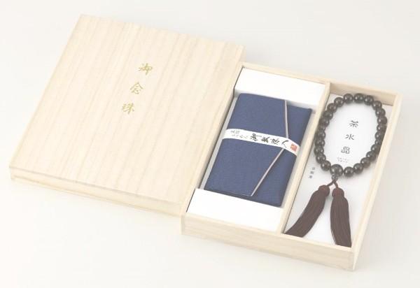 茶水晶京念珠・念珠袋セット 男性用 02P03Dec16