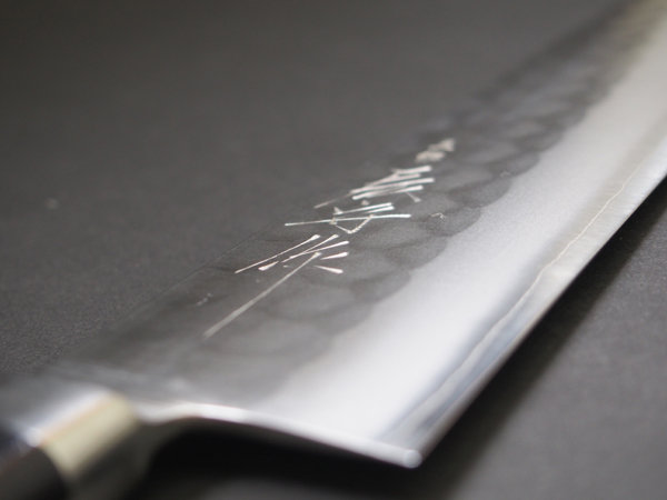 Sanjo Dragon Mamoru made stainless steel hammered eyes SKD Gyuto knife 210 mm 吉金 blade fourth Yamamoto kazuomi made