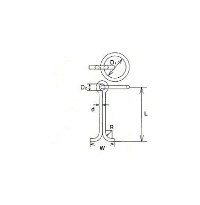 MM ステンレス(SUS304)係船環MI型 22×175mmMIS-22