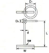 MM ステンレス(SUS304)係船環MT型 16×120mmMT-16