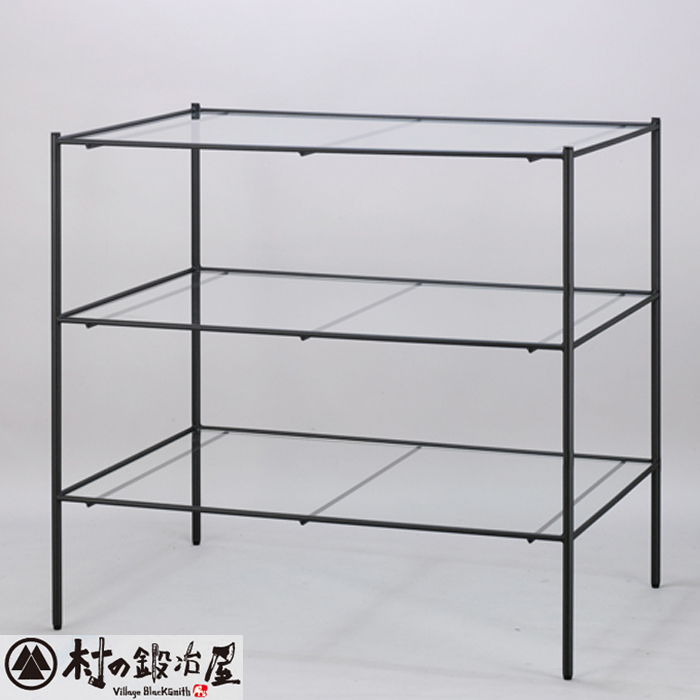 杉山製作所 KEBIN アイアンワークセレクト 3段ガラステーブルT-2163-A日本製メーカー直送のため代引不可シンプルでベーシックな陳列用ガラステーブル