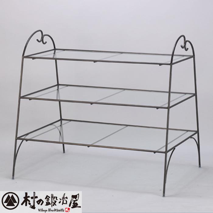 杉山製作所 KEBIN アイアンワークピコ 3段テーブルT-2183日本製メーカー直送のため代引不可シンプルでベーシックな陳列用ガラステーブル