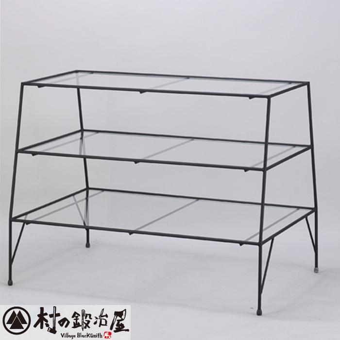杉山製作所 KEBIN アイアンワークピコ 3段テーブルT-2196日本製メーカー直送のため代引不可シンプルでベーシックな陳列用ガラステーブル