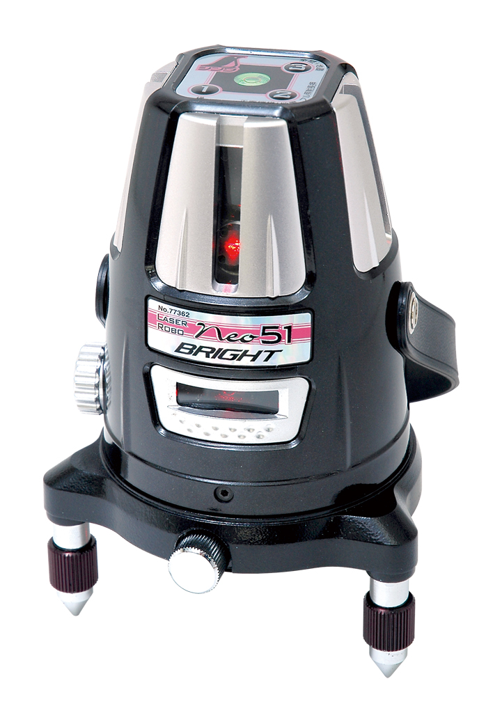 シンワ レーザー墨出し器 レーザーロボNeo51 BRIGHT 77362縦・横・大矩・通り芯×2・地墨