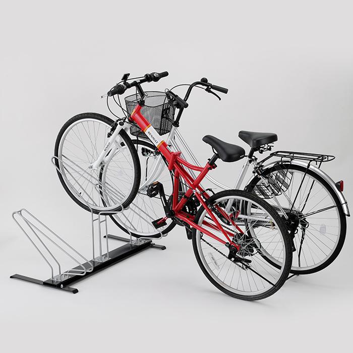普通自転車からマウンテンバイクまで対応可能な自転車スタンド 新生活に 日本製 HW0129自転車 驚きの値段 スタンド サイクルスタンド3台用 年末年始大決算 頑張って送料無料 国産 高低差があるからスペースを節約 4950010001299 タイヤ巾58mmまで対応