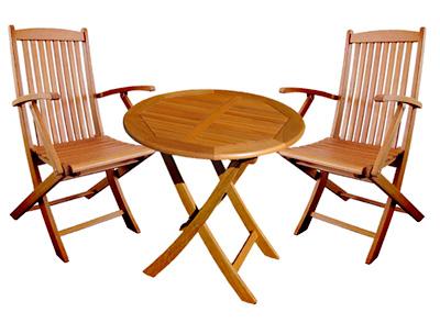 【頑張って送料無料!】 高級木材 イエローバラウ材使用ガーデンラウンドテーブル70cm 3点セット アームチェア付T-3+C-2×2個メーカー直送の為代引き不可です