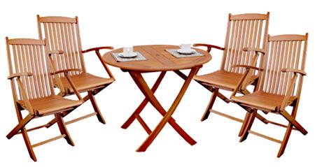 高級木材 イエローバラウ材使用ガーデンラウンドテーブル90cm 5点セット アームチェア付T-2+C-2×4個メーカー直送の為代引き不可です【頑張って送料無料!】