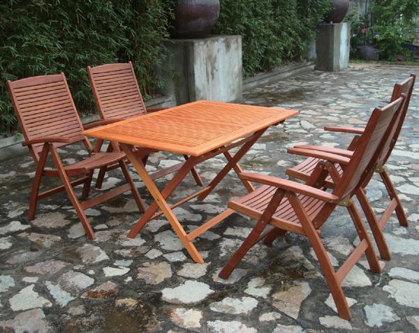 【頑張って送料無料!】高級木材 イエローバラウ材使用ガーデンレクタングテーブル120cm 5点セット ポジションチェア付T-7+C-3×4個メーカー直送の為代引き不可です