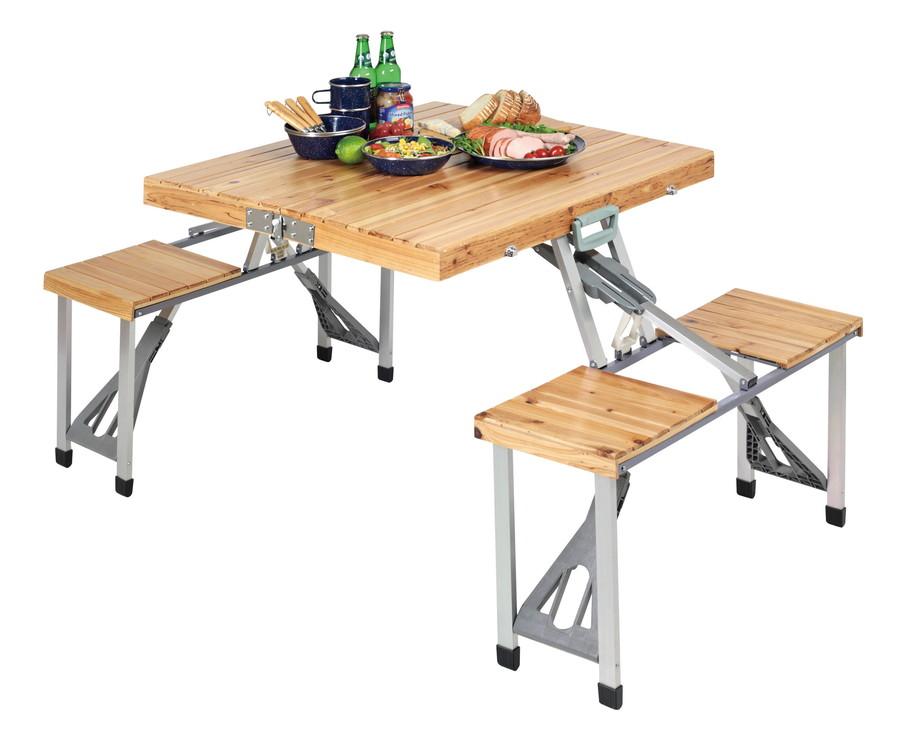 キャプテンスタッグNEWシダー 杉製ピクニックテーブル(ナチュラル)UC-3組立/幅1,390×奥行860×高さ670 mm収納/幅860×奥行115×高さ370 mm