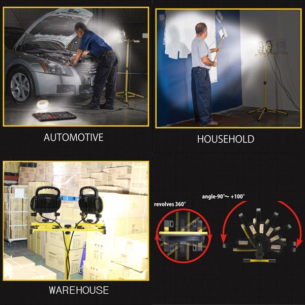 【頑張って送料無料!】パワーグロースタンド式LED投光器 EKS0337JS-2スタンド位置を変えずに、自在に照射方向を調整可能!