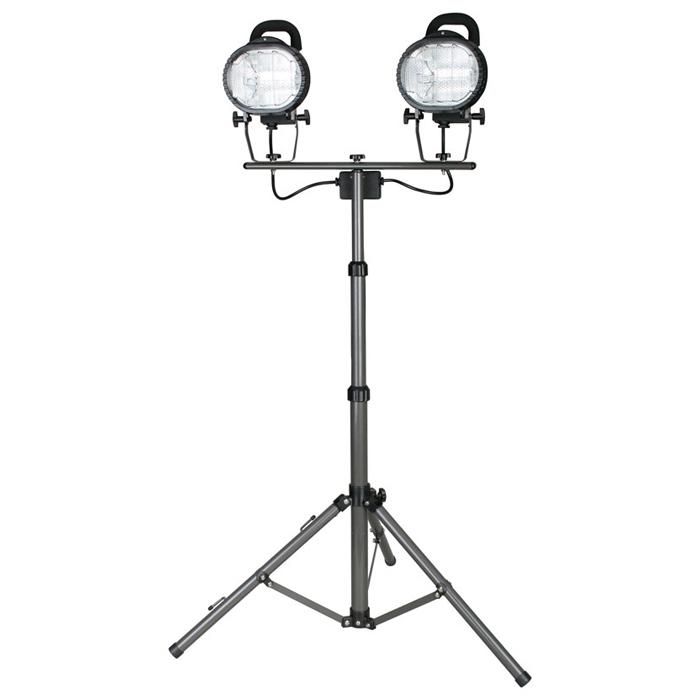 【防滴型】ハロゲン投光器2灯三脚式500W×2高さ伸縮自在 105~206cm CTW-502
