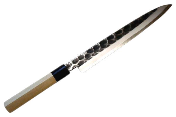 辰守作 鋼付け  黒打鎚目 柳刃包丁240mm燕三条の鍛冶職人が作る伝統的な和包丁