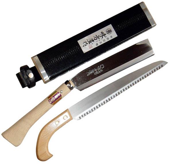 日野浦刃物工房 味方屋作 鞘鉈210mm 2丁鞘セット片刃鉈と鋸のセット【頑張って送料無料!】