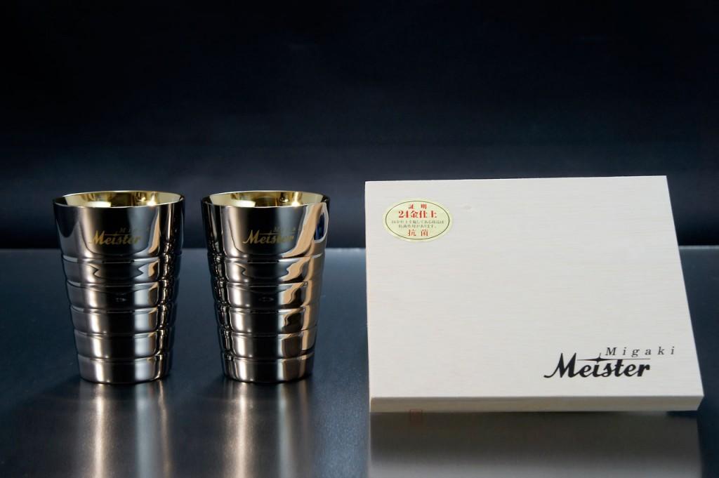 【頑張って送料無料!】Migaki Meister マイスター工房 名匠の技ペアカップ大 24金メッキ 2本桐箱入 PCGK-003クリスマスプレゼント・父の日の贈り物などビール好きな方へ 【楽ギフ_のし】