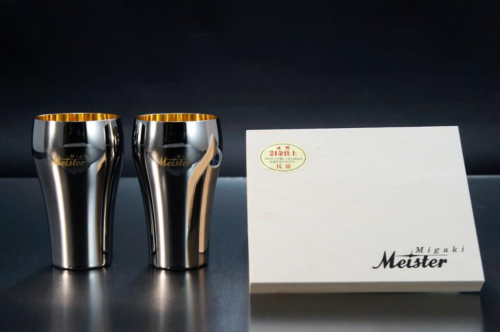 Migaki Meister マイスター工房 名匠の技タンブラー大 24金メッキ 2本桐箱入MTGK-001クリスマスプレゼント・父の日の贈り物などビール好きな方へ 【楽ギフ_のし】【頑張って送料無料!】