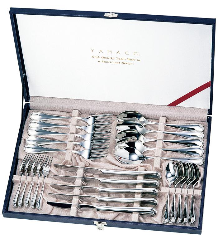 山崎金属工業製 YAMACO ELEGANCE 25pcsディナーセットデザートナイフ、デザートフォーク、デザートスプーン、ティースプーン、ヒメフォークが各5本GIFT EL-25 【楽ギフ_のし】