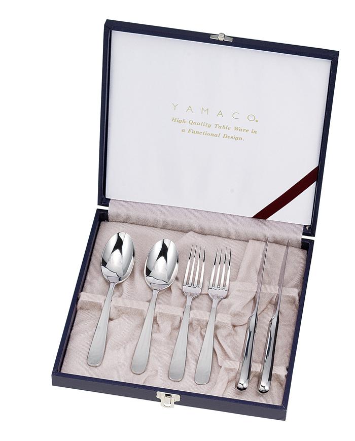 山崎金属工業製 YAMACO LILIAN 6pcsペアディナーセットデザートナイフ、デザートフォーク、デザートスプーンが各2本GIFT LA-6 【楽ギフ_のし】