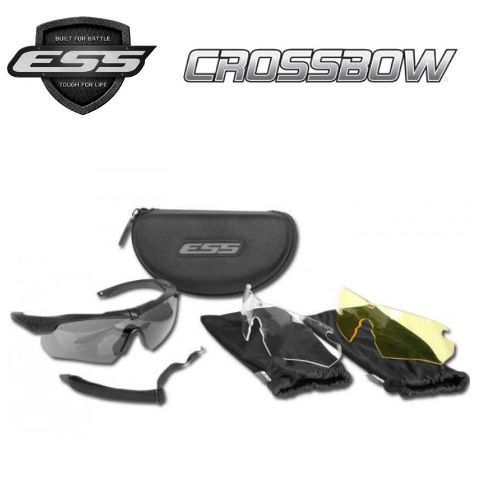 ESS Crossbow 3LS Kit イーエスエス 直送商品 クロスボウ 3レンズ フレーム ブラック レンズ サングラス メーカー公式ショップ ドライブ UVカット サバゲ― スモーク 740-0387 イエロー クリアー 防弾レンズ