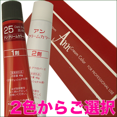 Ann color 正規逆輸入品 アン 再再販 クリームカラー 40g 25番と26番ご選択 赤箱 2剤式ヘアカラー