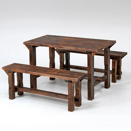 ymworld | Rakuten Global Market: Burnt cedar table & bench set ...