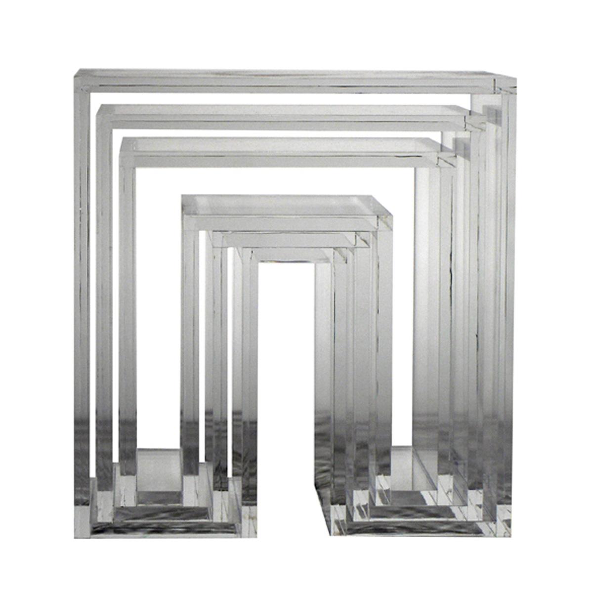 abode 3個セットネスティングテーブル クリア Nesting Tables 3pc.SET / ウー・バホリヨディン Ou Baholyodhin バホリヨデン SHOJIシリーズ 収納棚・テーブル・什器・スツール・マガジンラック・コンソール
