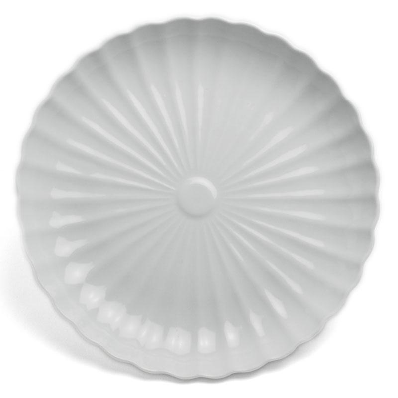 菊の大輪に季節の恵み 出色 白磁:白磁菊花7寸皿 21.0cm》 水野克俊《中皿 爆買い新作