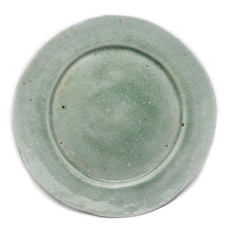 灰釉ビードロ7寸◎皿・鍔広・有松進《中皿・21.5cm》