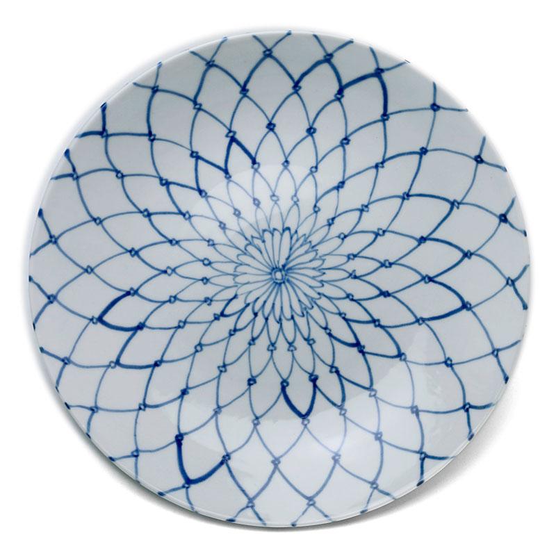 九谷焼:染付網文7寸皿・正木春蔵《中皿・22.0cm》