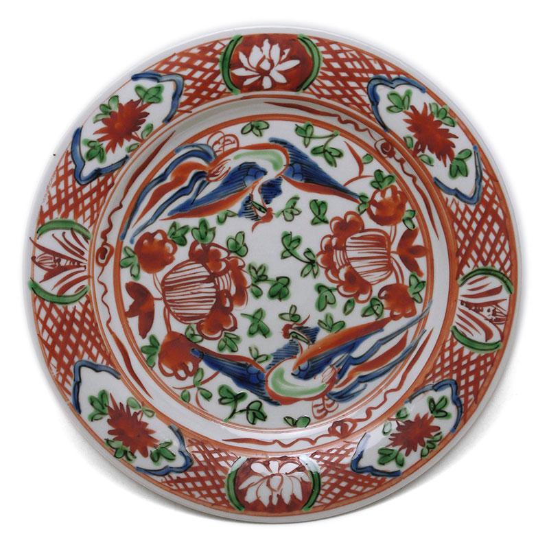 九谷焼:呉須赤絵牡丹鳳凰文平鉢・正木春蔵《大皿・25.5cm》