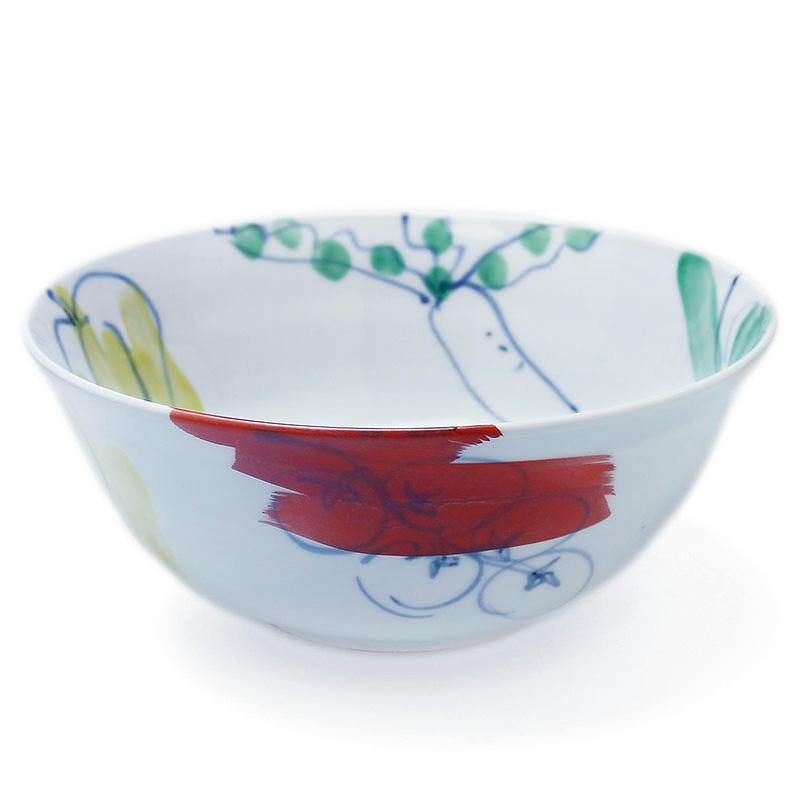 色絵:色絵野菜文鉢・古川章蔵《大鉢・盛り鉢・21.0cm》