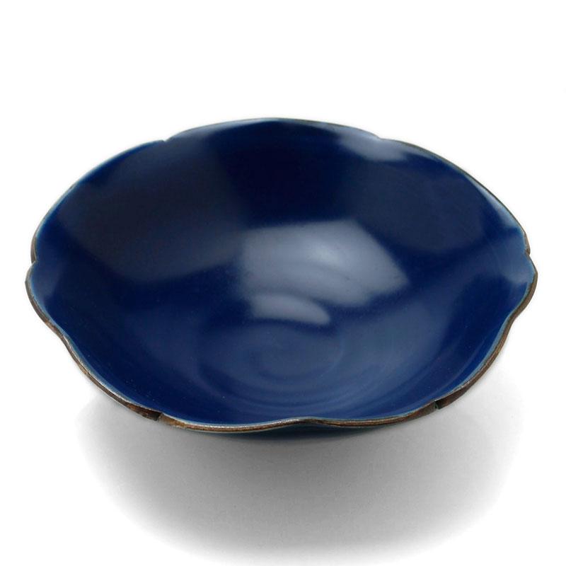 呉須釉輪花鉢6.5寸・長森慶《中鉢・20.0cm》
